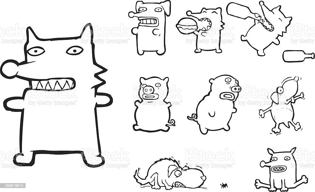 line animal beasties! vector art illustration