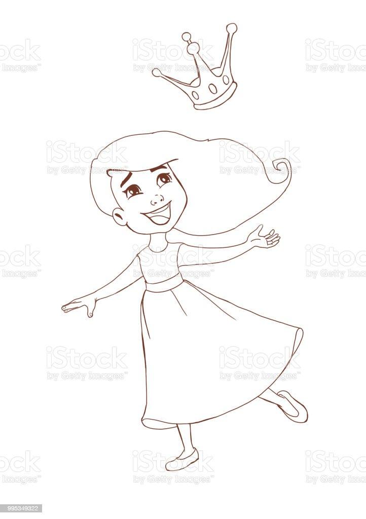 Coloriage Princesse Qui Danse Avec Prince.Line Art Pour Livre A Colorier Dune Fille Heureuse De Princesse Avec