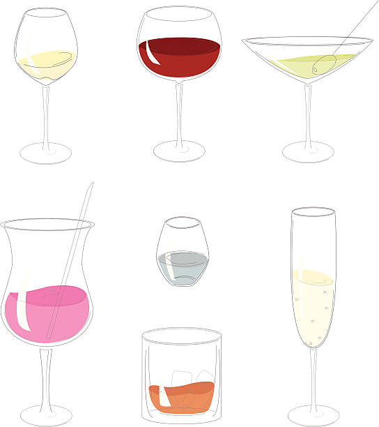 """Line art glasses """"Simplified line illustration of red and white wine, Martini, scotch, cocktail, champaign and water glasses."""" champaign illinois stock illustrations"""