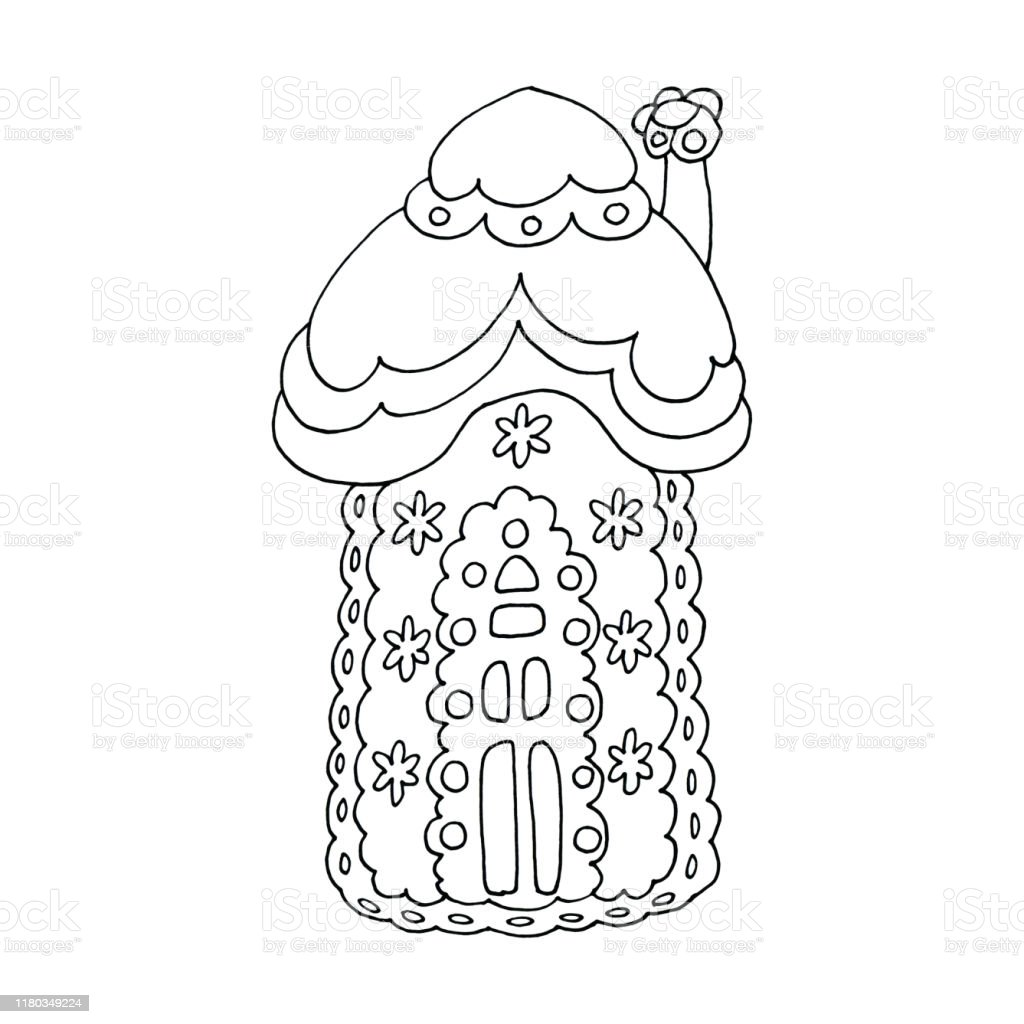 - Line Art Illustration Of Christmas Gingerbread House Cookie