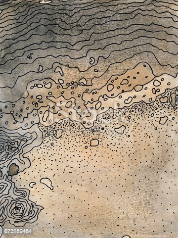 Mixed media art created with a likeness to a topographical map and a beach. The prominent colors are shades brown and beige. There are illustrated lines in abstract form that highlight the textured areas of the piece.