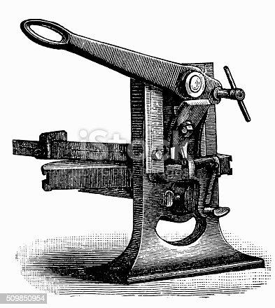 Antique illustration of line cutter machine