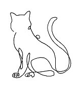 One Line Drawing of Cat.