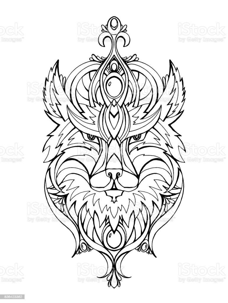 ilustração de retrato de desenho de linha do lobo arteterapia e
