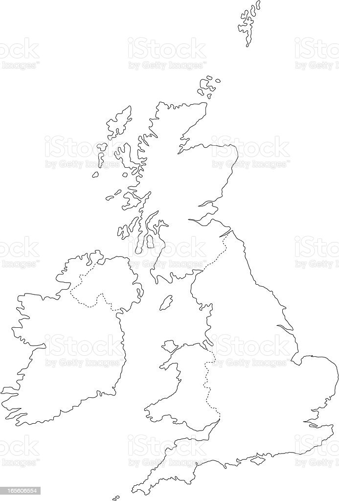 UK line map royalty-free stock vector art