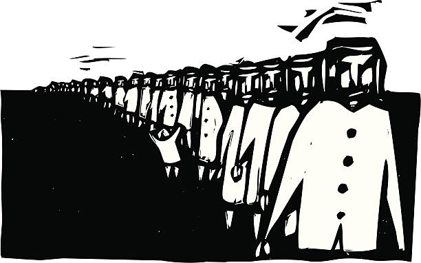 Line Up Long row of people rendered in a rough style wait in line. genocide stock illustrations
