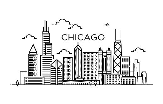 Linear banner of Chicago city. Line art
