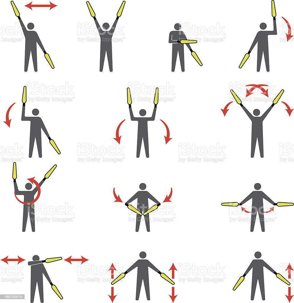 Lineperson Signals vector art illustration