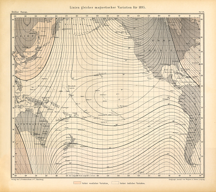 Lines of Equal Magnetic Variation in 1895 Chart, Pacific Ocean, German Antique Victorian Engraving, 1896