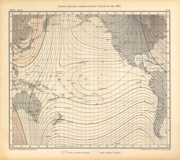 bildbanksillustrationer, clip art samt tecknat material och ikoner med rader med lika magnetisk variation i 1895 diagram, stilla havet, tyska antika viktorianska gravyr, 1896 - map oceans