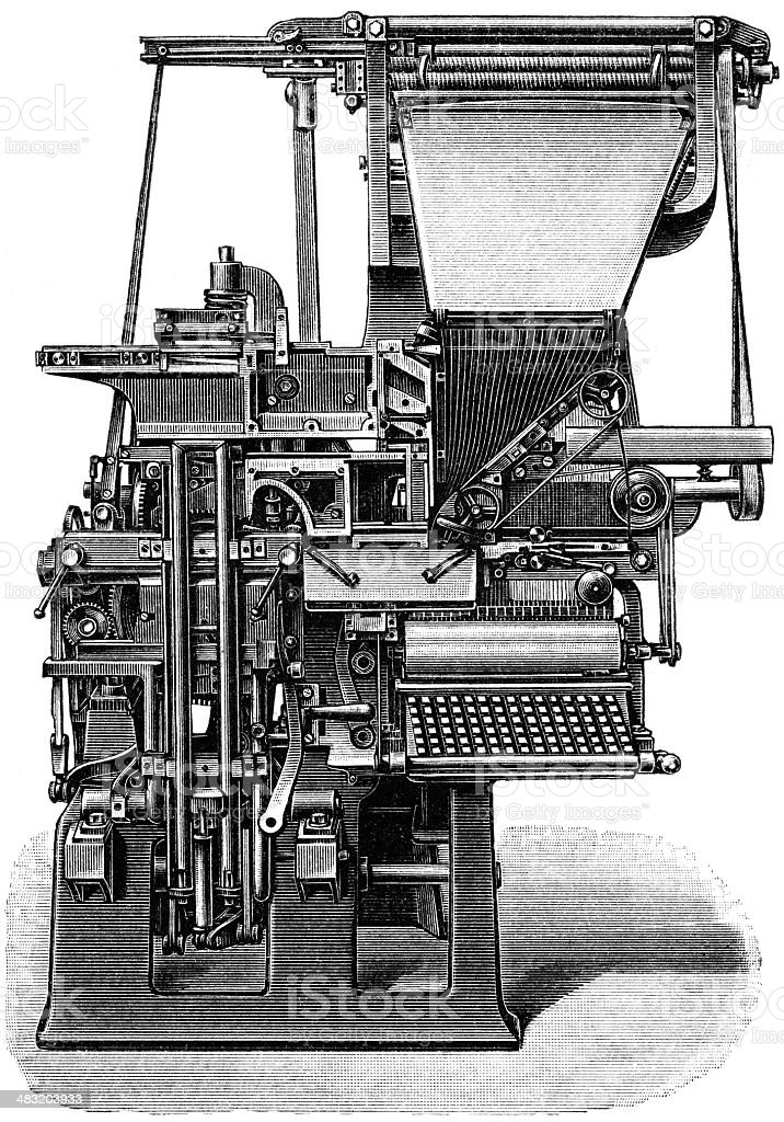 Linotype vector art illustration