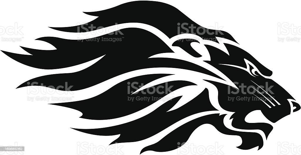 Lion head mascot B&W vector art illustration