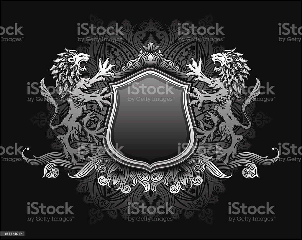 Lion holding shield insignia vector art illustration