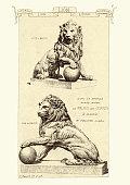 Vintage engraving of Lions in bronze, Places devamt de Palais des Corte's A Madrid. Sculptures and fine art statues of lions, 19th Century. Materiaux et Documents D'Architecture et de Sculpture, by Raguenet
