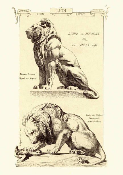 Lion in bronze. Sculptures and fine art statues of lions vector art illustration