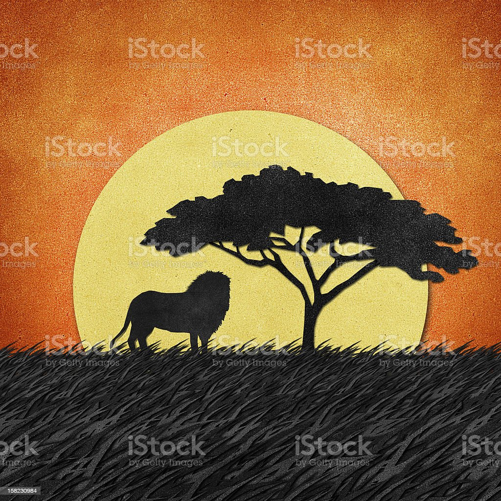 Lion made from recycled paper background vector art illustration