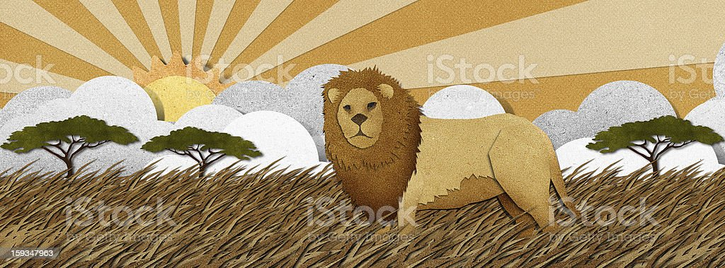 Lion made from recycled paper background royalty-free stock vector art