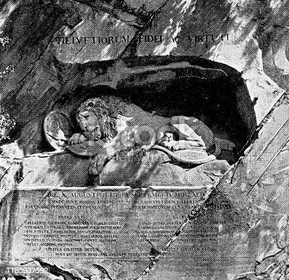 The Lion Monument (Lion of Lucerne) in the city of Lucerne in Lucerne Canton, Switzerland. Vintage halftone etching circa late 19th century.