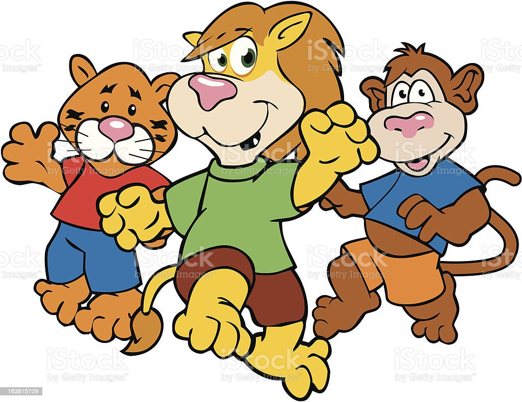 Lion ,Tiger and Monkey OH MY! royalty-free lion tiger and monkey oh my stock vector art & more images of activity