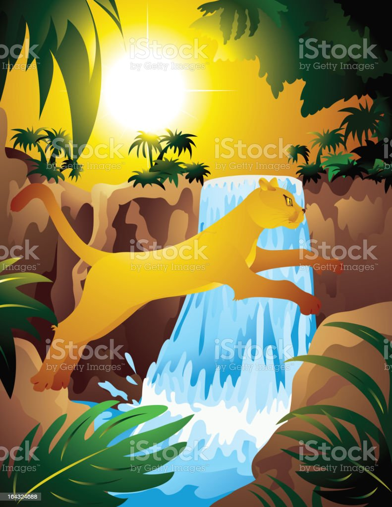 Lioness_in_jungle royalty-free stock vector art