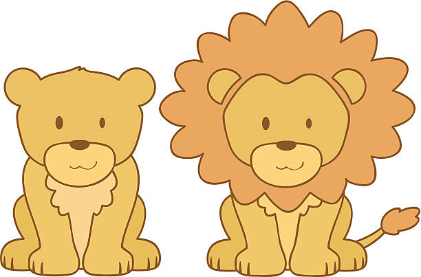 lions young lion and lioness lion cub stock illustrations