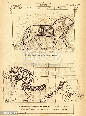 Vintage engraving of Lions in Ancient Architecture, Lions in Ancient Architecture, Ancient Egypt and Ancient Mesopotamia