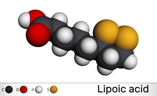 Lipoic acid, LA, ALA,  alpha lipoic, thioctic acid, lipoate molecule. It is organosulfur compound, vitamin-like antioxidant, enzyme cofactor. Structural formula, molecule model. Molecular model