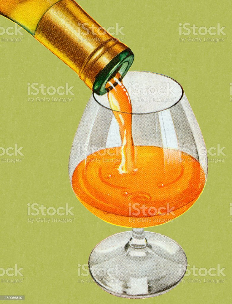 Liquor Being Poured into Snifter Glass vector art illustration
