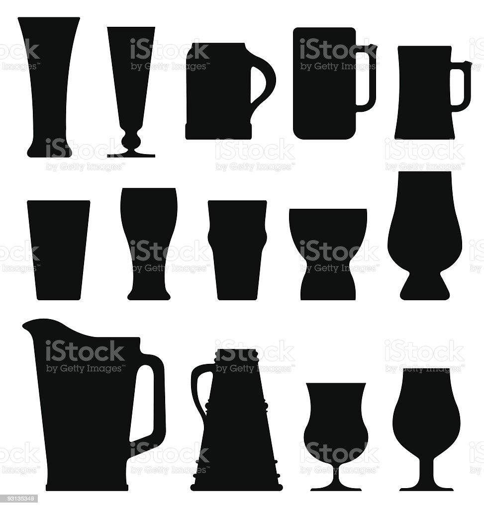 Spirituosen, Kaffee und Bier Gläser – Vektorgrafik