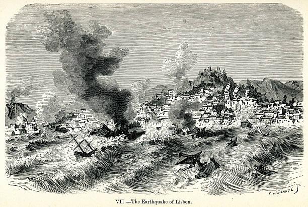 lizbona trzęsienie ziemi w 1755 - lizbona stock illustrations