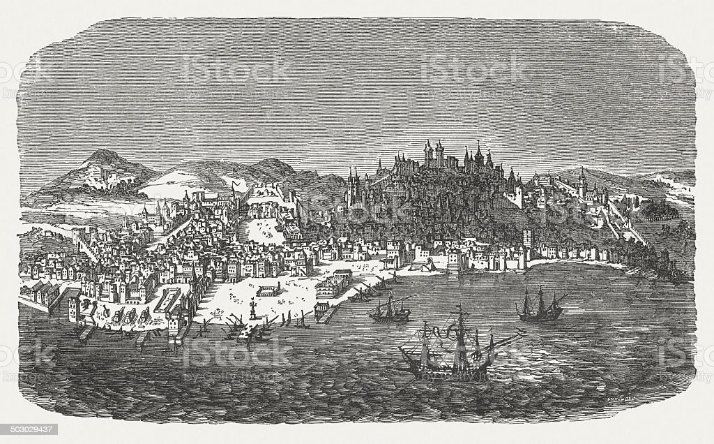 Lisbon in 16th century, ood engraving, published in 1880. royalty-free stock vector art