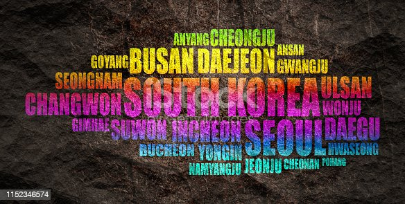 List of cities and towns of South Korea. Word cloud collage. Business and travel concept background.
