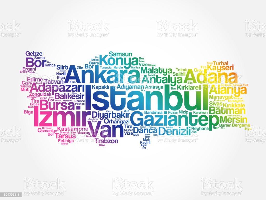 List of cities in Turkey word cloud vector art illustration