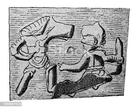 istock List of Roman gladiator types ,Thrax and Hoplomachus. Shard of terra sigillata 1303697323
