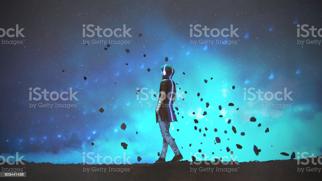 listening to the sounds of space vector art illustration