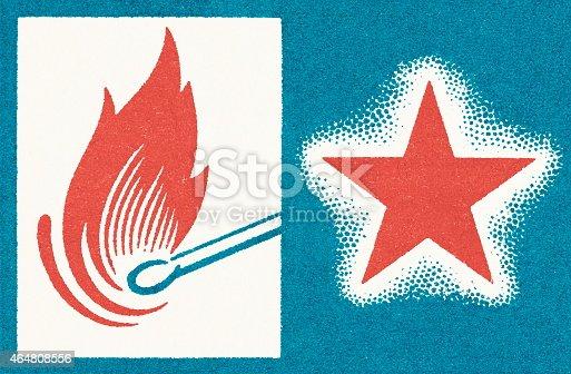 istock Lit match and star 464808556