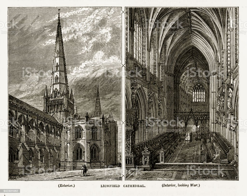 Litchfield Cathedral in Staffordshire, England Victorian Engraving, 1840 vector art illustration