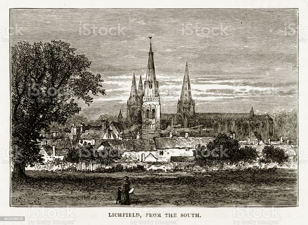 Litchfield in Staffordshire, England Victorian Engraving, 1840 vector art illustration