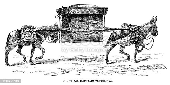 "A litter carried by donkeys, used for travelling in mountainous areas of Mongolia. From ""Sunday at Home - A Family Magazine for Sabbath reading, 1883"", published by the Religious Tract Society, London."