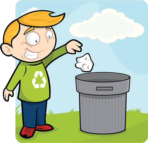 litter free - child throwing garbage stock illustrations, clip art, cartoons, & icons