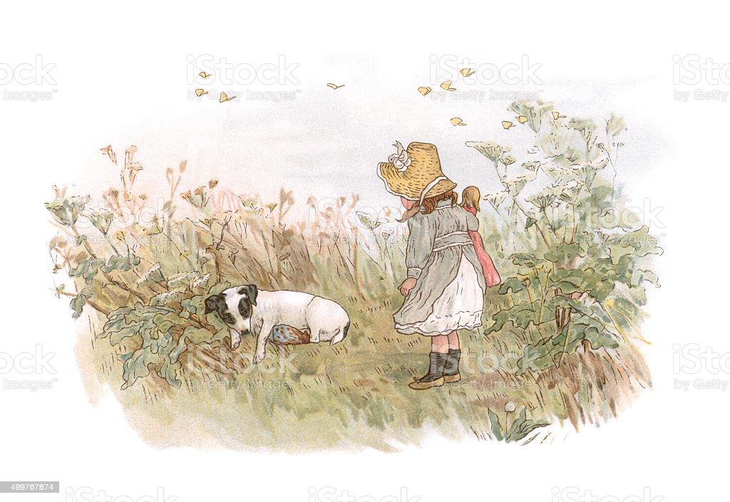 Little 19th century girl finding an injured dog vector art illustration