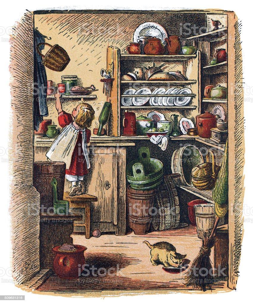 Maly Xix Wieku Dziewczyna W Kuchni Z Kota Stockowe Grafiki