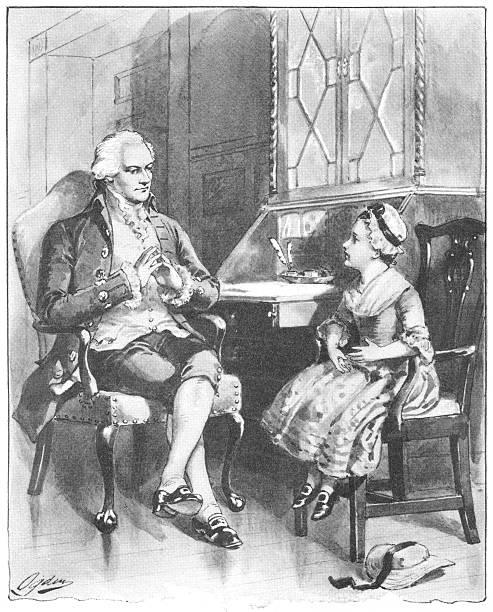 Little American girl visiting Colonel Alexander Hamilton vector art illustration