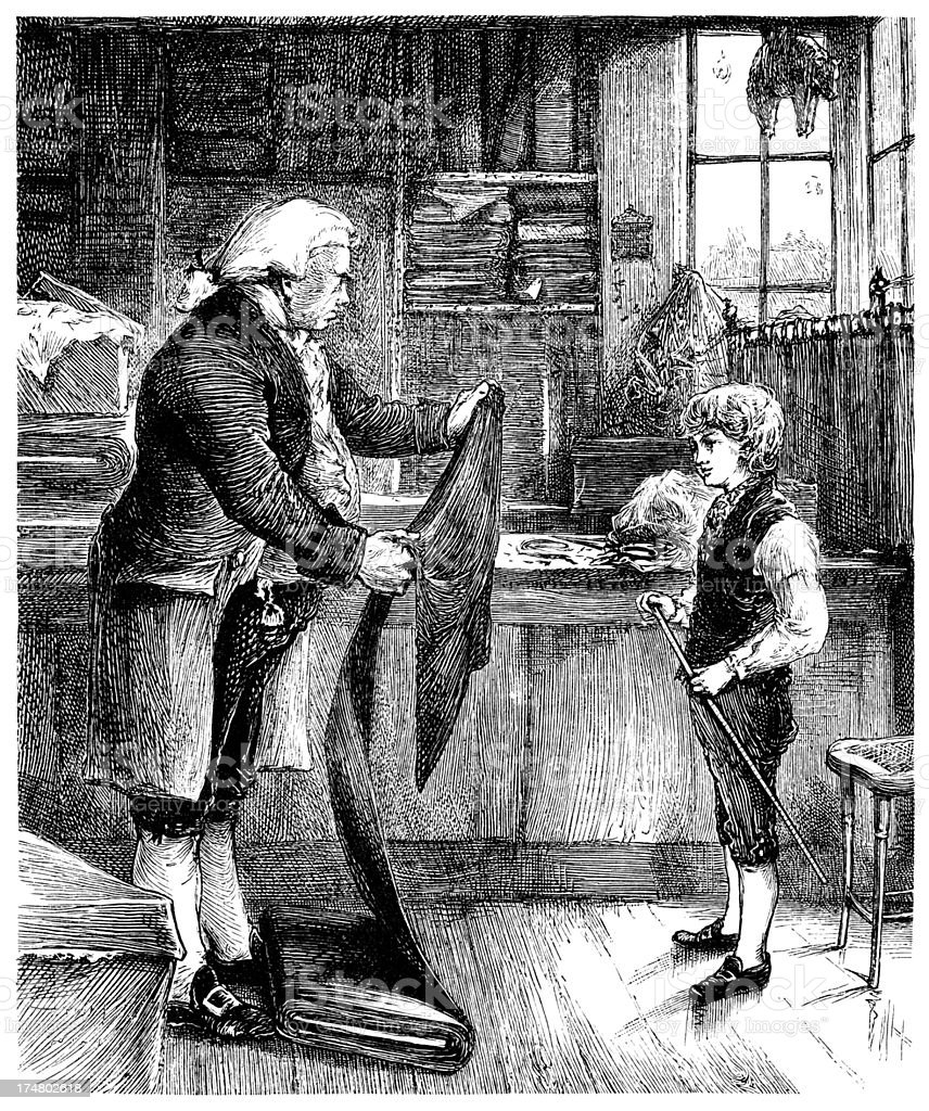 Little apprentice tailor learning the trade royalty-free little apprentice tailor learning the trade stock vector art & more images of 1850-1859
