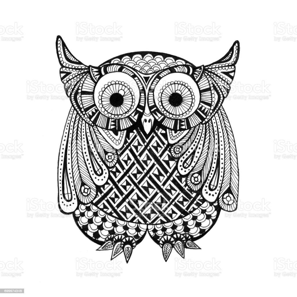 Little Athene Owl Doodle Drawing Stock Illustration ...