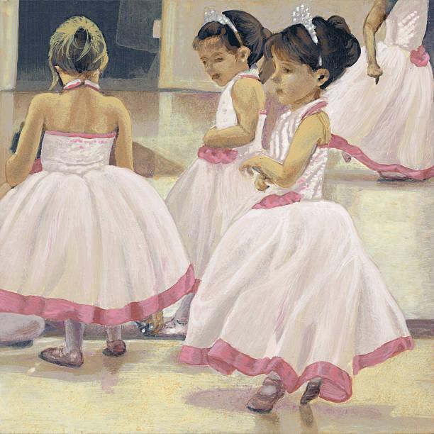 Little Ballerinas Pink White Dresses Tiaras vector art illustration