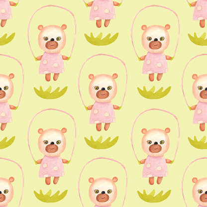 Little bear is jumping on the rope. Seamless pattern with a yellow background.