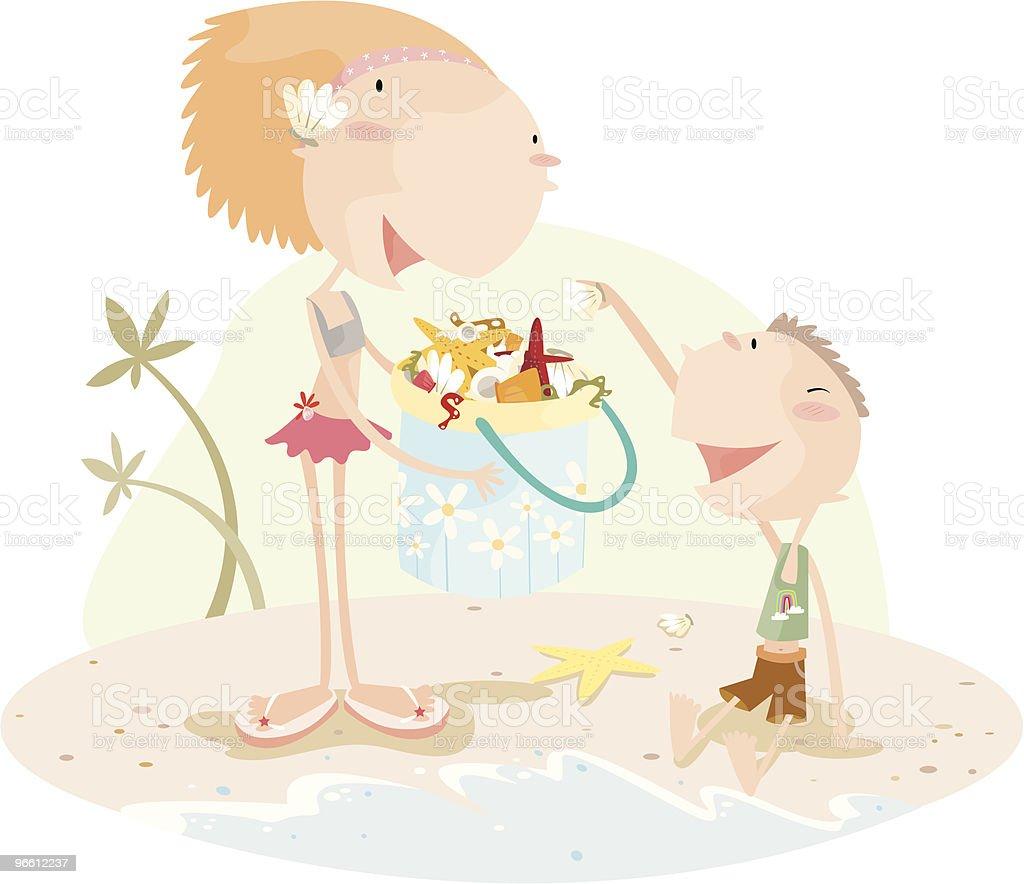 Маленький Мальчик и девочка, собирая Sea Shells в ведро - Векторная графика Близость роялти-фри
