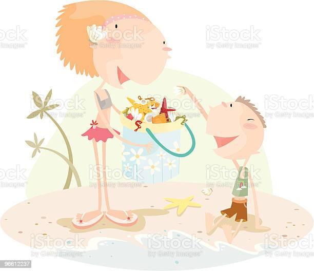 Маленький Мальчик И Девочка Собирая Sea Shells В Ведро — стоковая векторная графика и другие изображения на тему Близость
