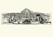 Vintage engraving Little boy and girl playing a fountain with a model boat, 19th Century. 1870s.  Snowdrop or The Adventures of a white rabbit